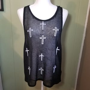 The Classic White cross with Sheer Netting Tank